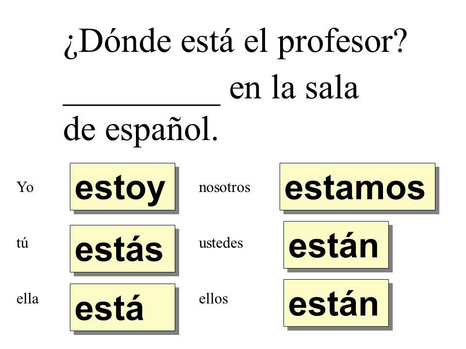 ¿Dónde está el profesor _________ en la sala de español.