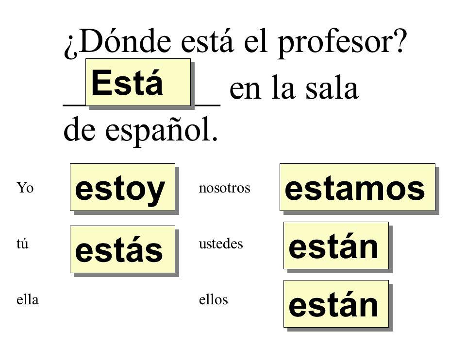 ¿Dónde está el profesor Está _________ en la sala de español.