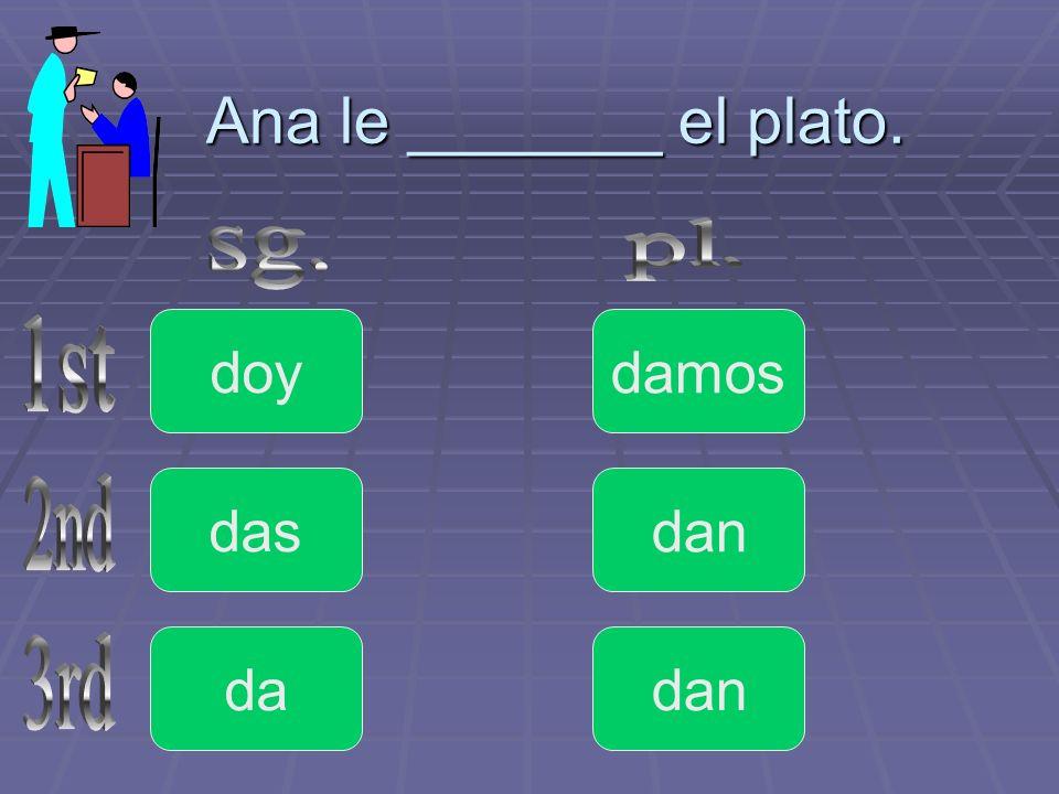 Ana le _______ el plato. pl. sg. doy damos 1st das dan 2nd da dan 3rd