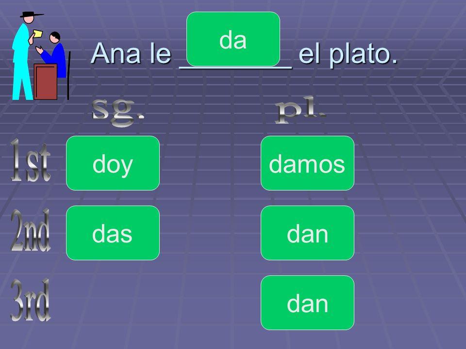 da Ana le _______ el plato. pl. sg. doy damos 1st das dan 2nd dan 3rd