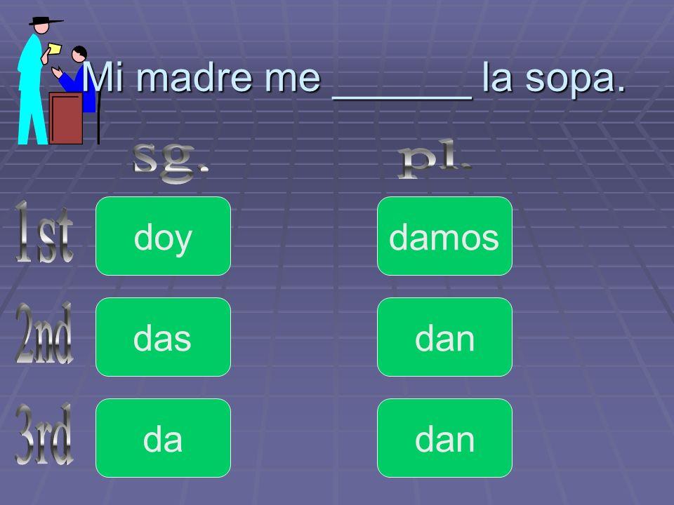Mi madre me ______ la sopa.