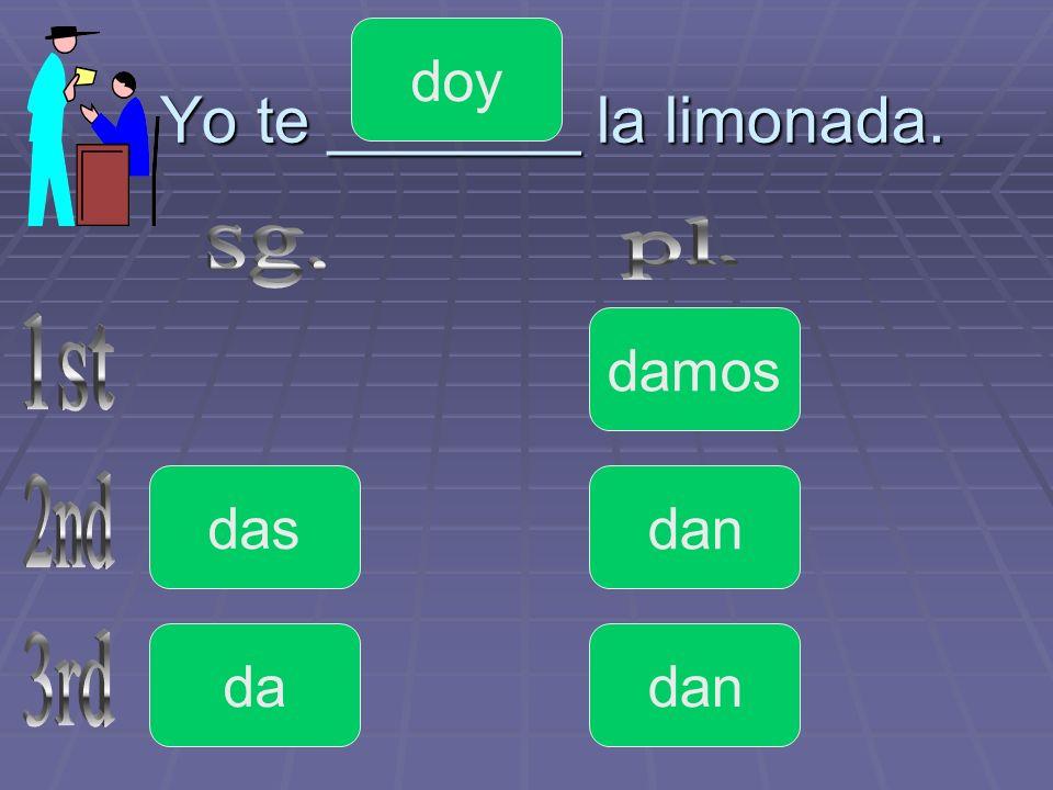 Yo te _______ la limonada.