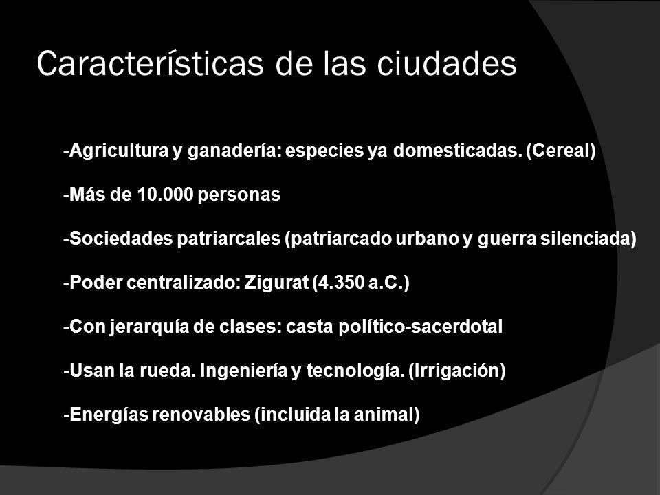 Características de las ciudades
