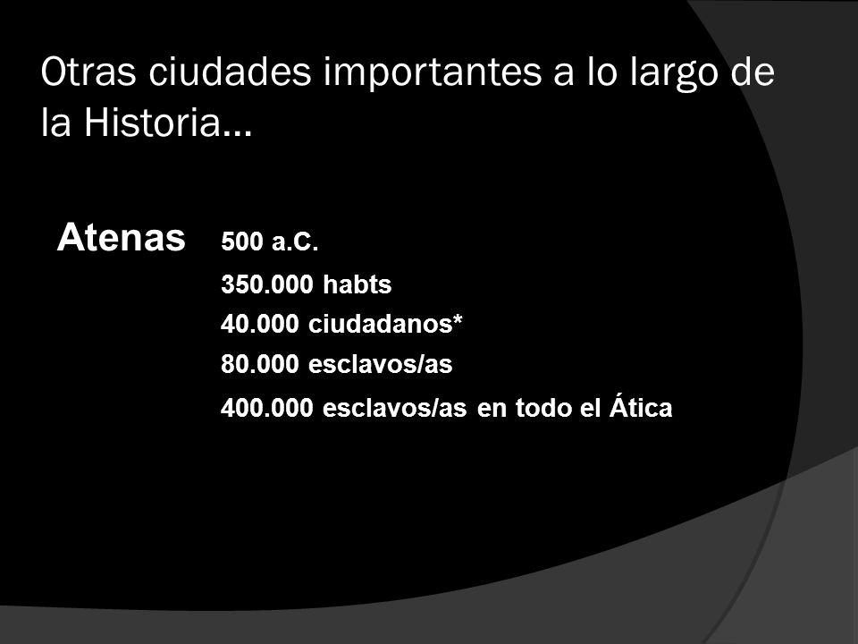 Otras ciudades importantes a lo largo de la Historia…