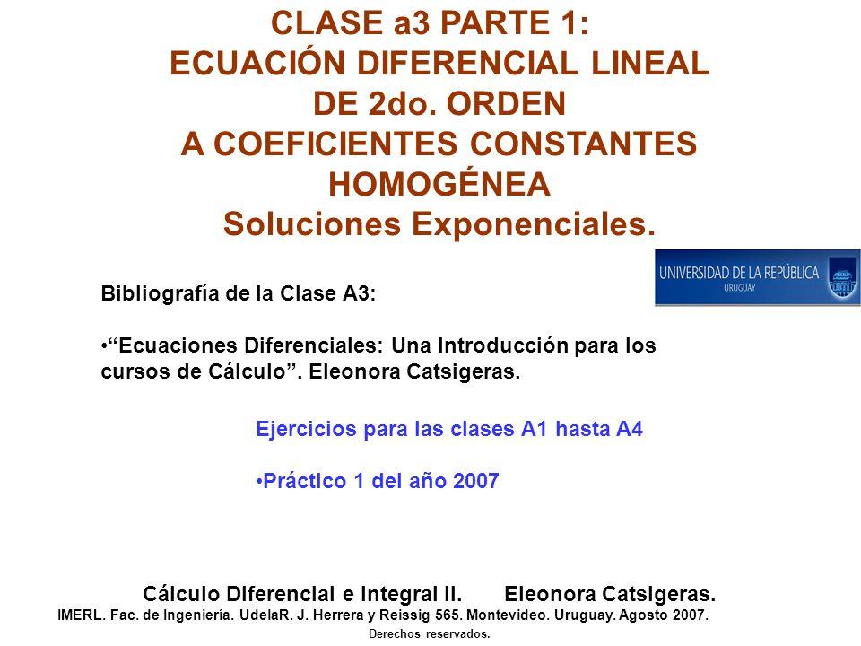 ECUACIÓN DIFERENCIAL LINEAL DE 2do. ORDEN A COEFICIENTES CONSTANTES
