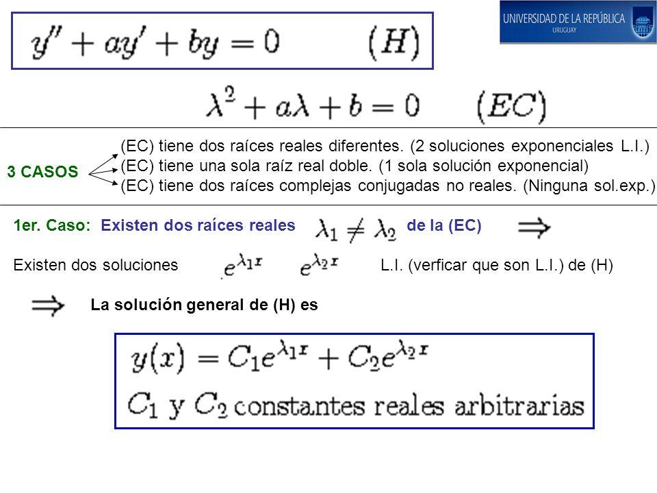 (EC) tiene dos raíces reales diferentes. (2 soluciones exponenciales L