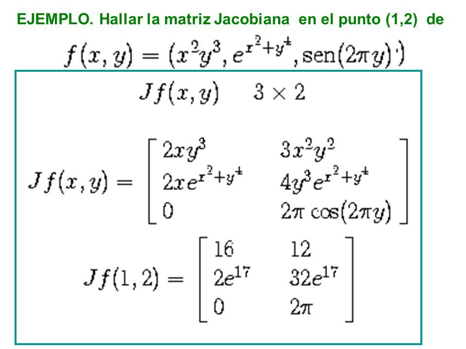 EJEMPLO. Hallar la matriz Jacobiana en el punto (1,2) de
