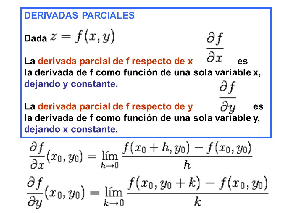 DERIVADAS PARCIALES Dada. La derivada parcial de f respecto de x es. la derivada de f como función de una sola variable x,