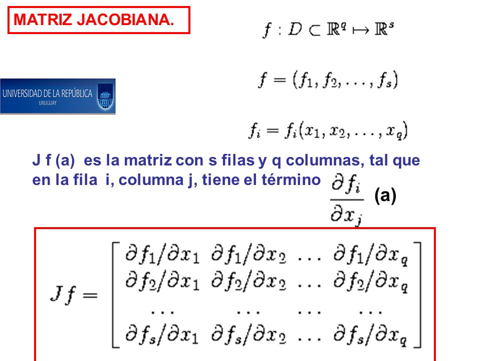 MATRIZ JACOBIANA. J f (a) es la matriz con s filas y q columnas, tal que. en la fila i, columna j, tiene el término.