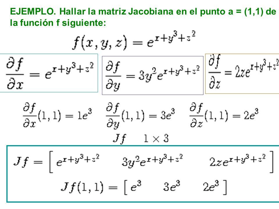 EJEMPLO. Hallar la matriz Jacobiana en el punto a = (1,1) de