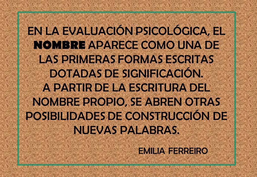 EN LA EVALUACIÓN PSICOLÓGICA, EL NOMBRE APARECE COMO UNA DE LAS PRIMERAS FORMAS ESCRITAS DOTADAS DE SIGNIFICACIÓN.