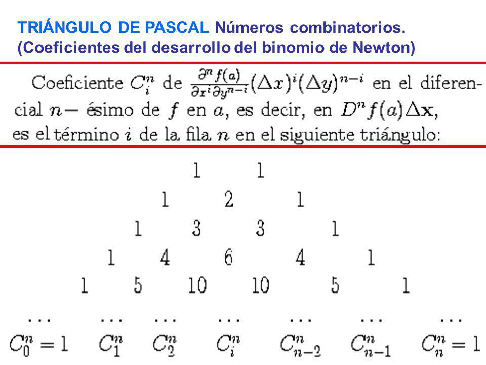 TRIÁNGULO DE PASCAL Números combinatorios.