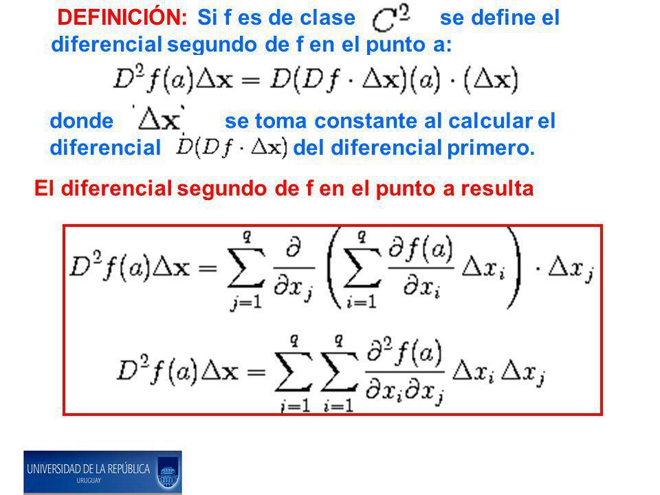 DEFINICIÓN: Si f es de clase se define el