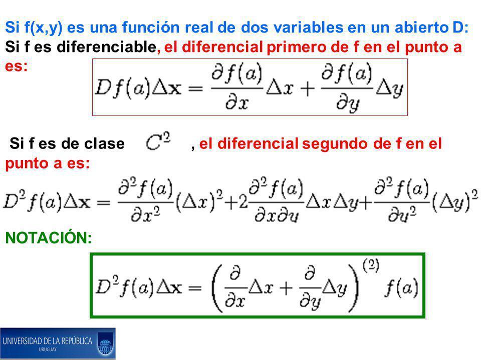 Si f(x,y) es una función real de dos variables en un abierto D: