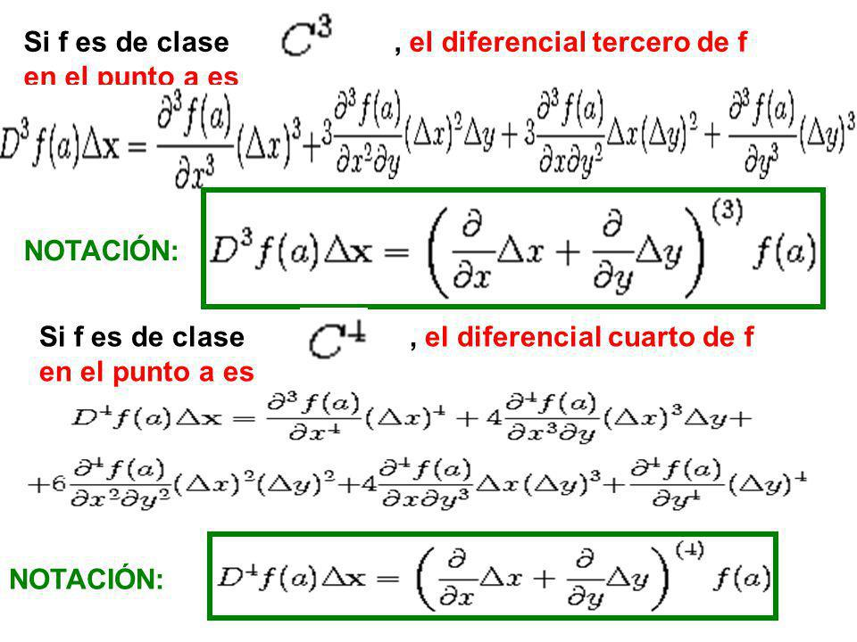 Si f es de clase , el diferencial tercero de f
