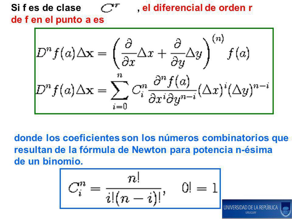 Si f es de clase , el diferencial de orden r de f en el punto a es