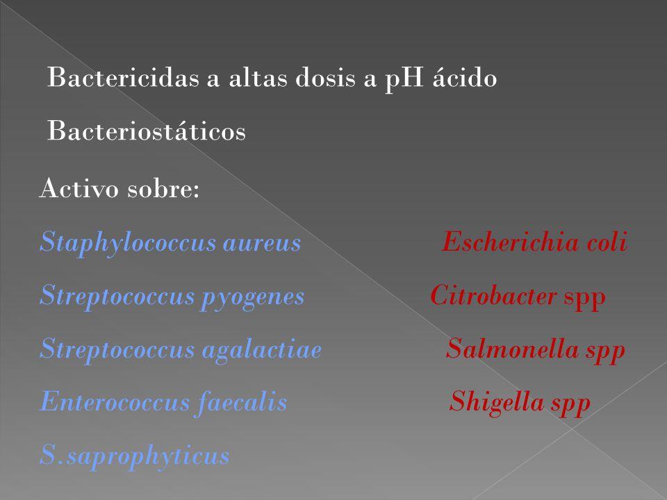 Bactericidas a altas dosis a pH ácido
