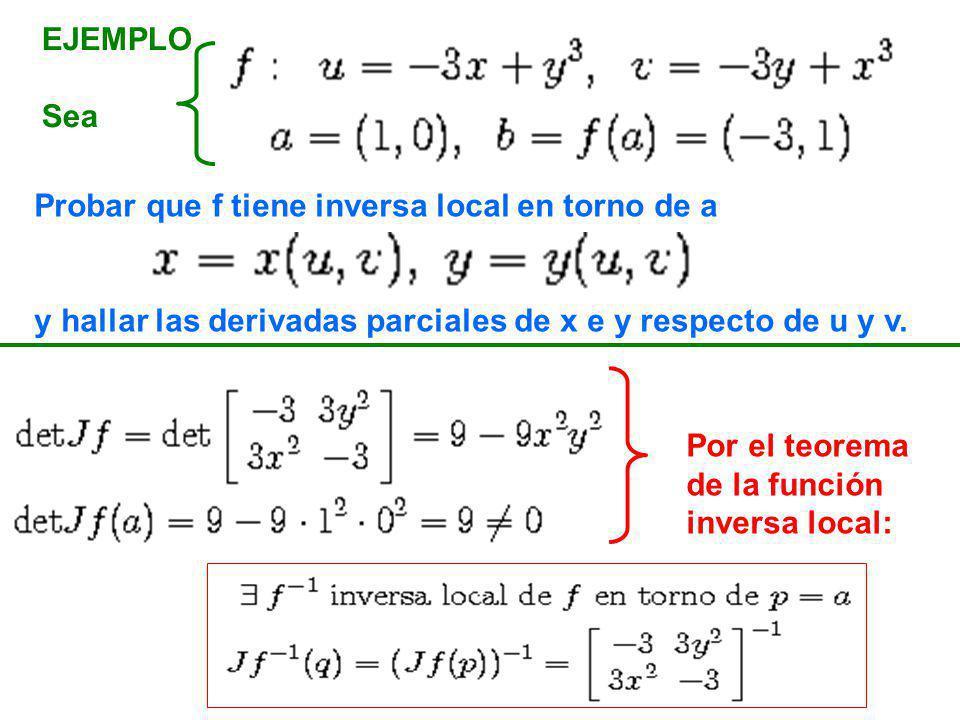 EJEMPLO Sea. Probar que f tiene inversa local en torno de a. y hallar las derivadas parciales de x e y respecto de u y v.