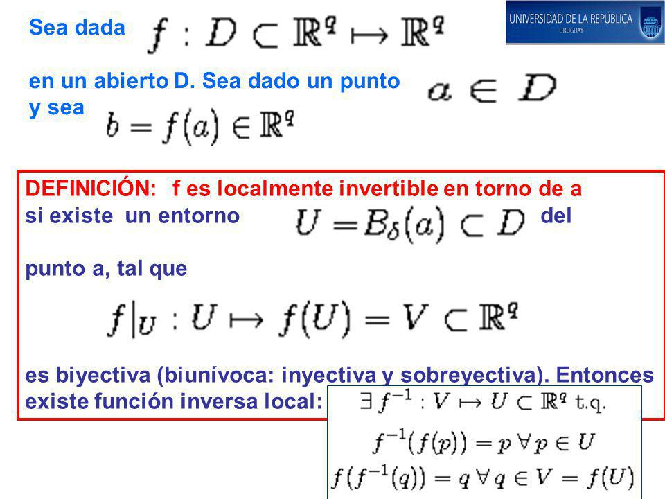 Sea dada en un abierto D. Sea dado un punto. y sea. DEFINICIÓN: f es localmente invertible en torno de a.