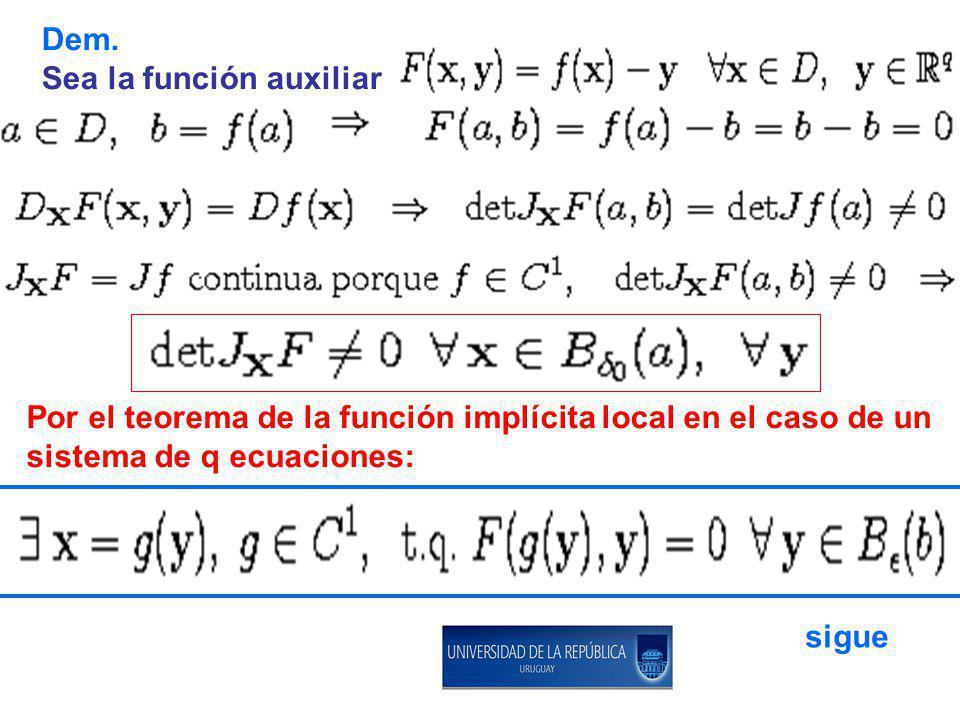 Dem. Sea la función auxiliar. Por el teorema de la función implícita local en el caso de un. sistema de q ecuaciones: