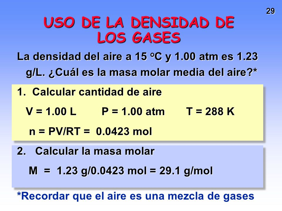 USO DE LA DENSIDAD DE LOS GASES