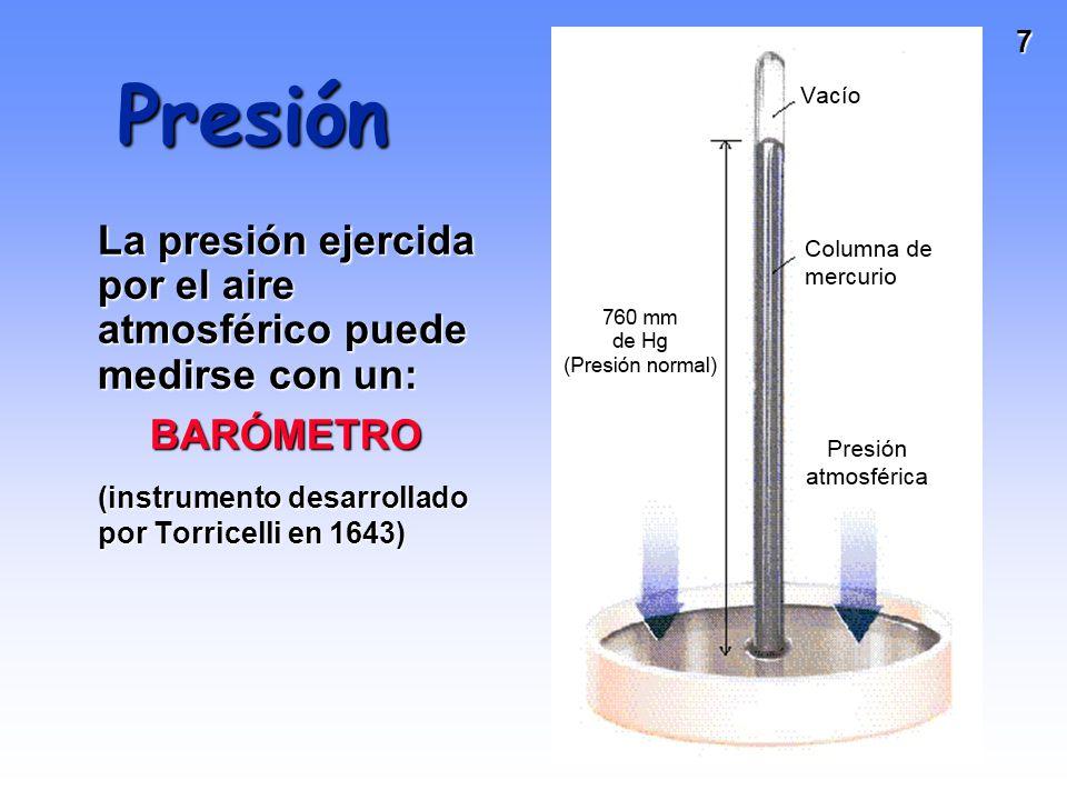 Presión La presión ejercida por el aire atmosférico puede medirse con un: BARÓMETRO.