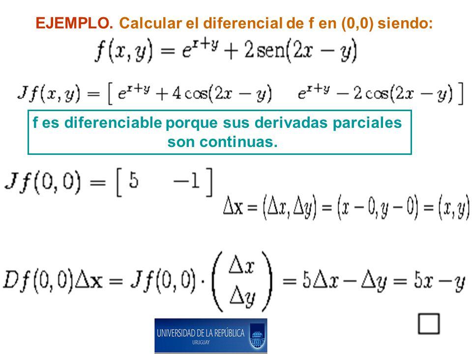 EJEMPLO. Calcular el diferencial de f en (0,0) siendo: