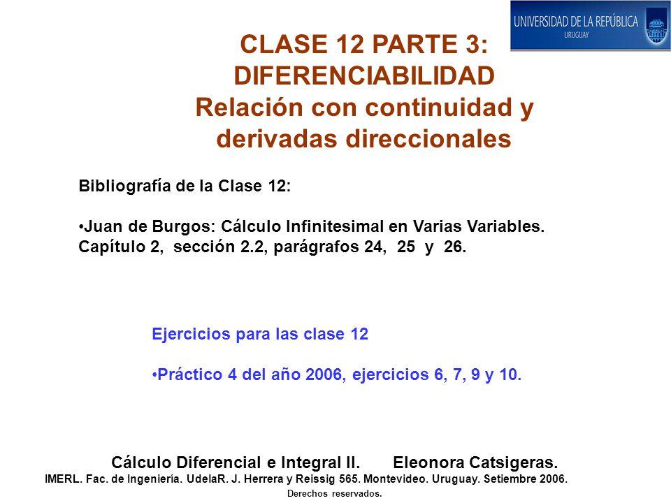 Relación con continuidad y derivadas direccionales