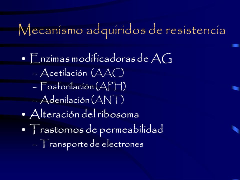 Mecanismo adquiridos de resistencia