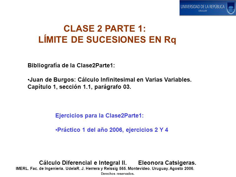 CLASE 2 PARTE 1: LÍMITE DE SUCESIONES EN Rq