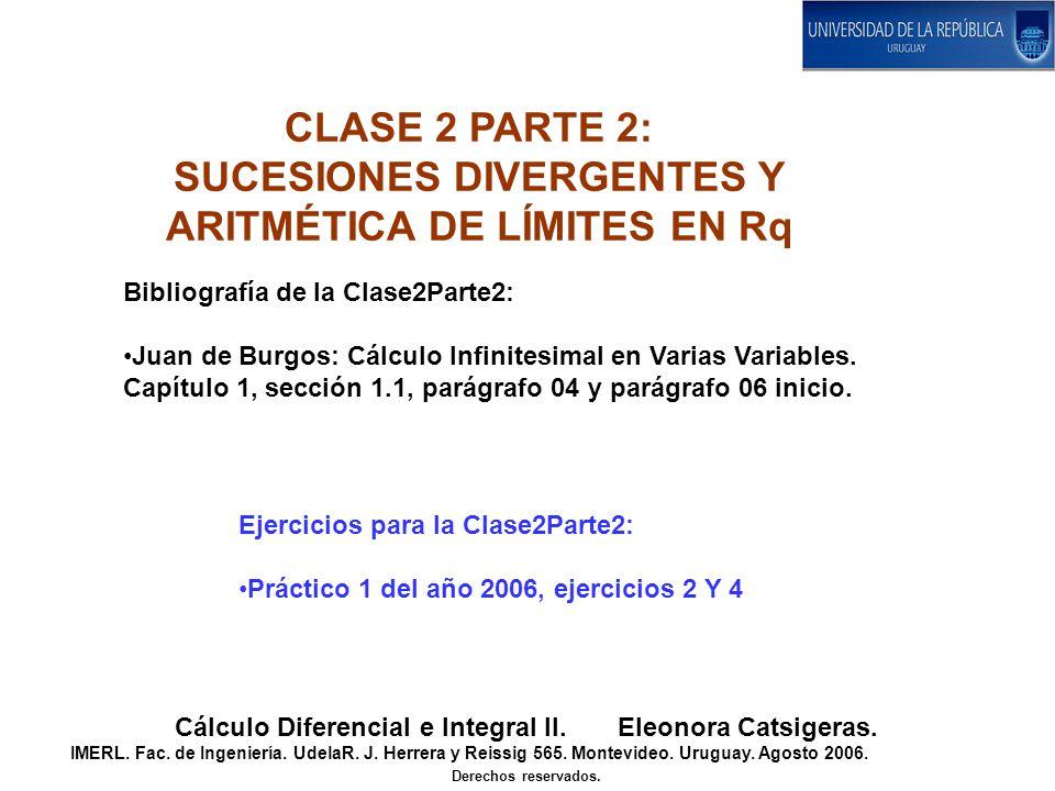CLASE 2 PARTE 2: SUCESIONES DIVERGENTES Y ARITMÉTICA DE LÍMITES EN Rq