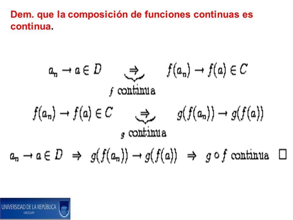 Dem. que la composición de funciones continuas es