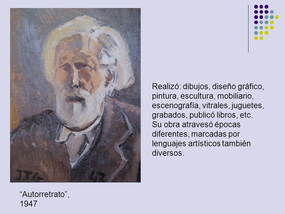 Realizó: dibujos, diseño gráfico, pintura, escultura, mobiliario, escenografía, vitrales, juguetes, grabados, publicó libros, etc.