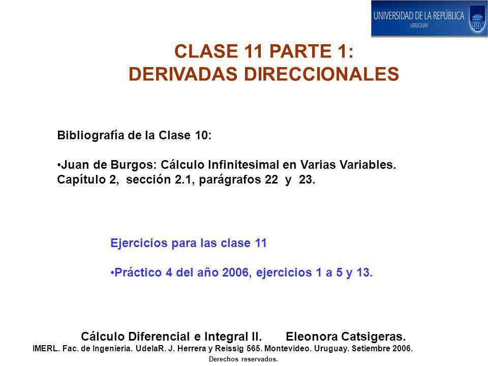 CLASE 11 PARTE 1: DERIVADAS DIRECCIONALES