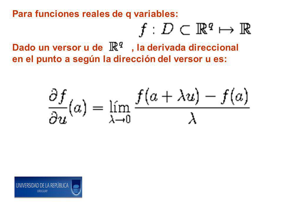 Para funciones reales de q variables: