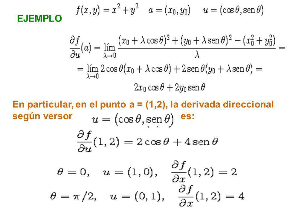 EJEMPLO En particular, en el punto a = (1,2), la derivada direccional.