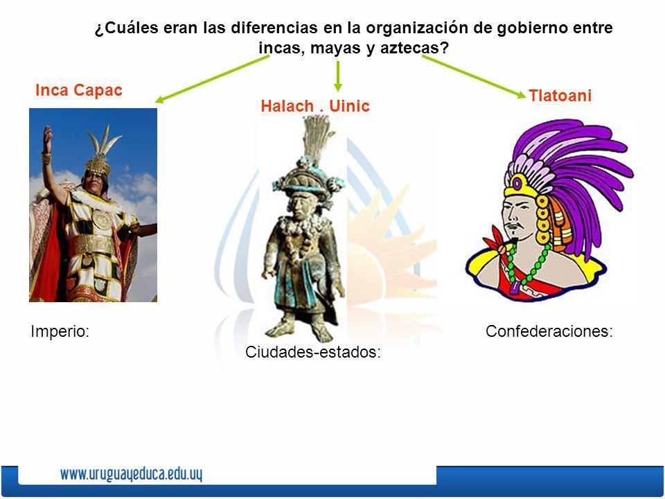 ¿Cuáles eran las diferencias en la organización de gobierno entre incas, mayas y aztecas