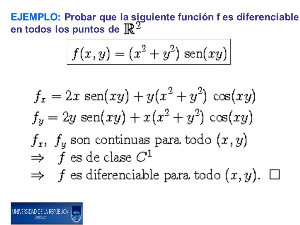 EJEMPLO: Probar que la siguiente función f es diferenciable