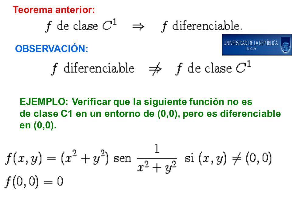 Teorema anterior: OBSERVACIÓN: EJEMPLO: Verificar que la siguiente función no es. de clase C1 en un entorno de (0,0), pero es diferenciable.
