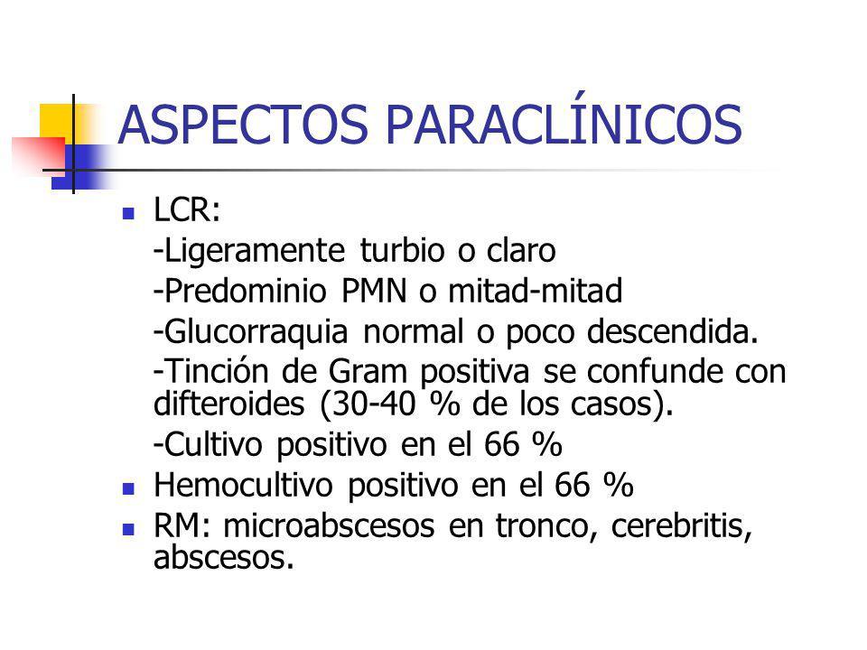 ASPECTOS PARACLÍNICOS
