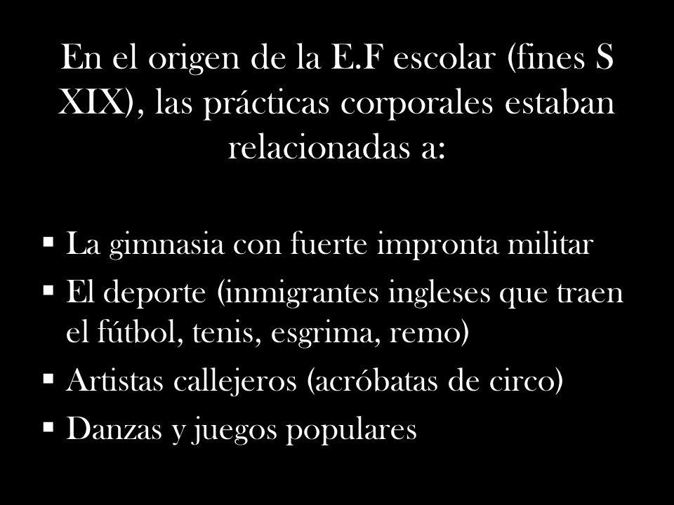 En el origen de la E.F escolar (fines S XIX), las prácticas corporales estaban relacionadas a: