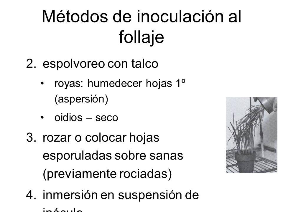 Métodos de inoculación al follaje