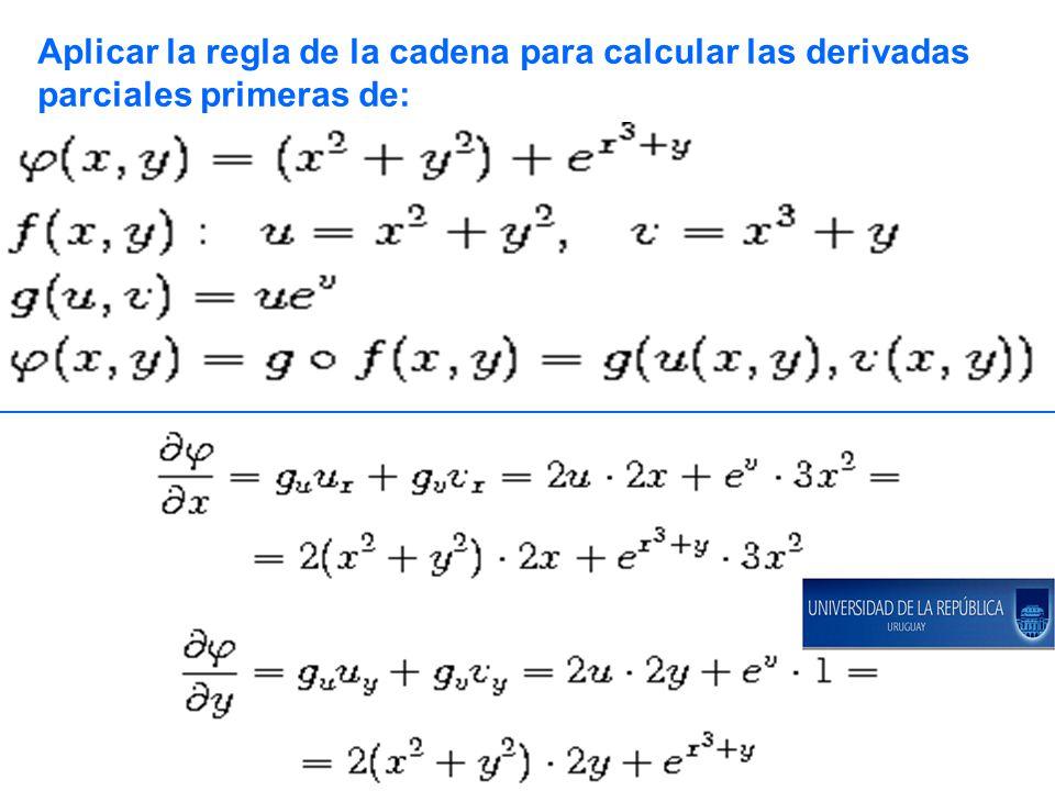 Aplicar la regla de la cadena para calcular las derivadas
