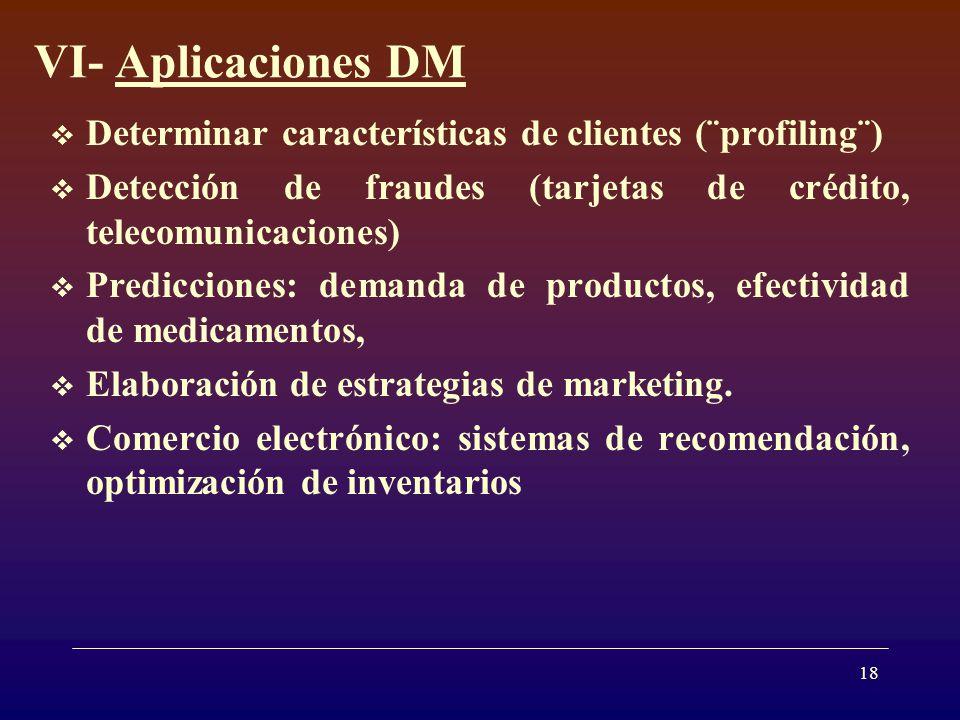 VI- Aplicaciones DM Determinar características de clientes (¨profiling¨) Detección de fraudes (tarjetas de crédito, telecomunicaciones)