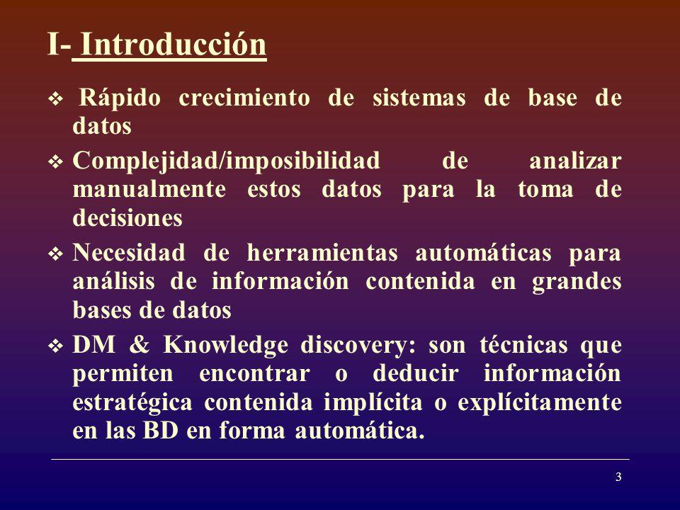 I- Introducción Rápido crecimiento de sistemas de base de datos