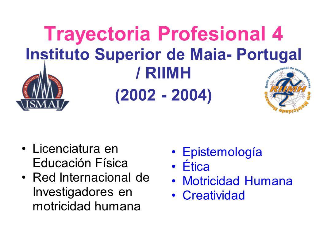 Trayectoria Profesional 4 Instituto Superior de Maia- Portugal / RIIMH (2002 - 2004)