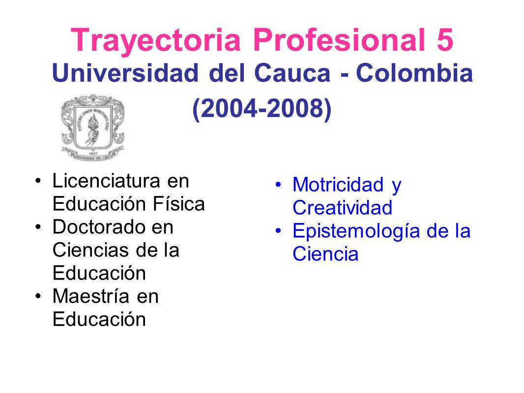 Trayectoria Profesional 5 Universidad del Cauca - Colombia (2004-2008)