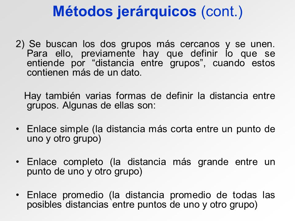 Métodos jerárquicos (cont.)