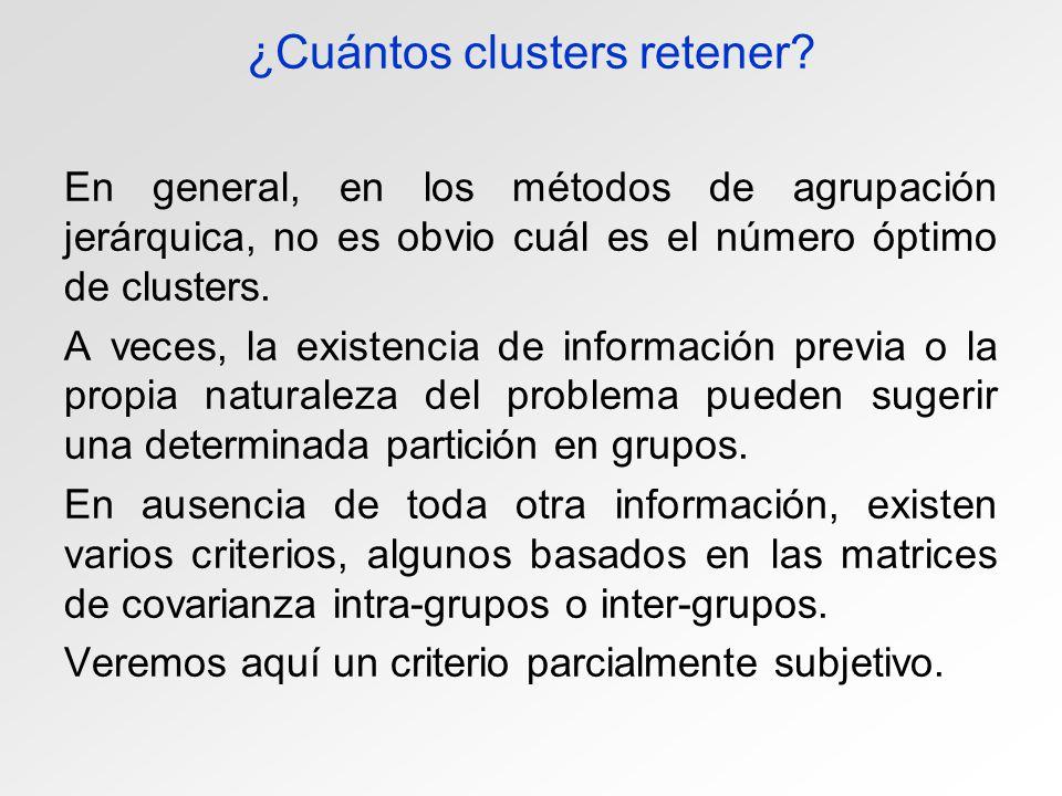 ¿Cuántos clusters retener