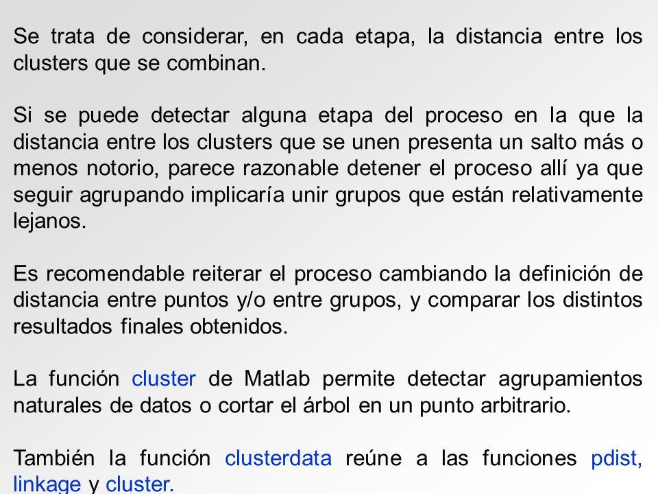 Se trata de considerar, en cada etapa, la distancia entre los clusters que se combinan.
